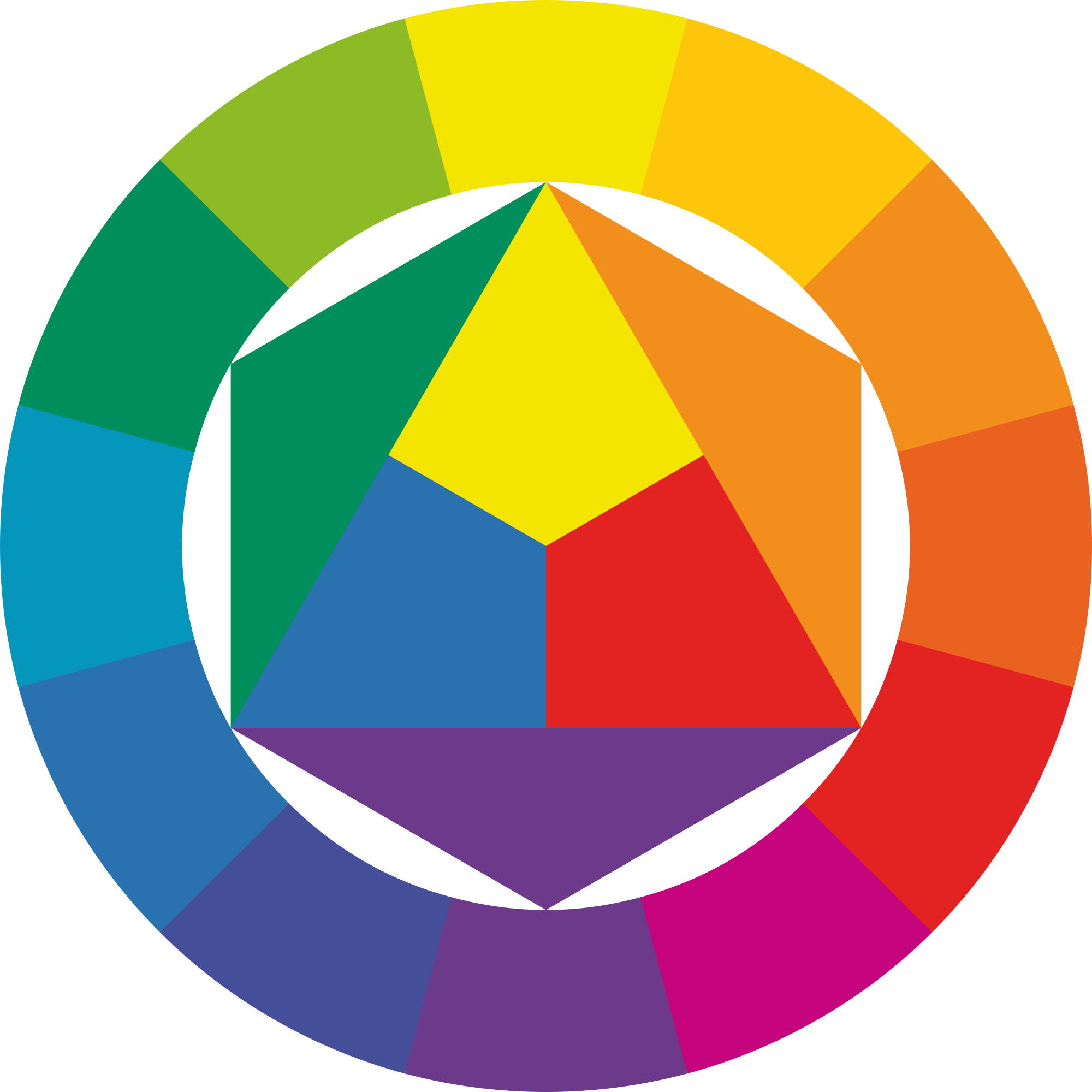 In The Center Are First Order Colors Blue Yellow Red Then Second Green Orange Violet Obtained By Mixing Respectively